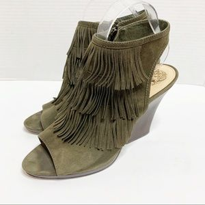 Vince Camuto Green Suede Fringe Booties 9